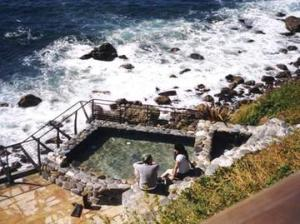 Hot springs tub overlooking the ocean
